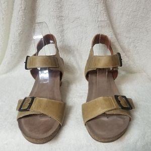 Taos leather wedge sandal